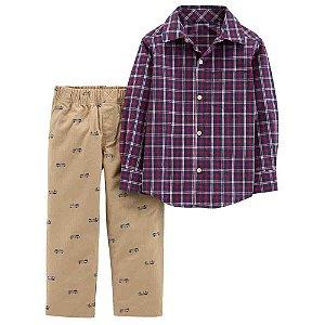 Conjunto com camisa xadrez da Carter's