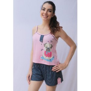 Pijama Baby Doll Marinheiro Adulto Feminino Curto Estampa Pug Cor Rosa