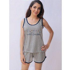 Pijama Regata com Short Adulto Feminino Curto Estampa Sweet Dreams Cor Mescla Acabamento Azul