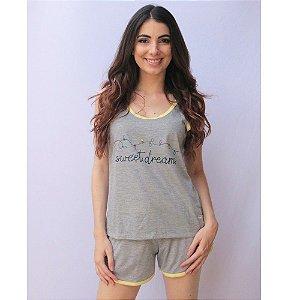 Pijama Regata com Short Adulto Feminino Curto Estampa Sweet Dreams Cor Mescla Acabamento Amarelo