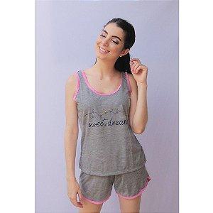 Pijama Regata com Short Adulto Feminino Curto Estampa Sweet Dreams Cor Mescla Acabamento Rosa