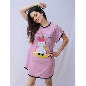 Pijama Camisão Manga Japonesa Adulto Feminino Estampa Unicórnio Cor Lilás