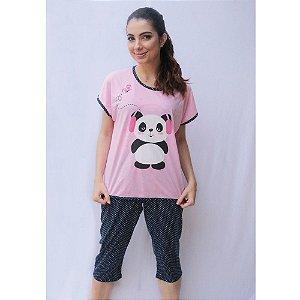 Pijama Blusa Calça Pescador Adulto Feminino Curto Estampa Panda Cor Rosa