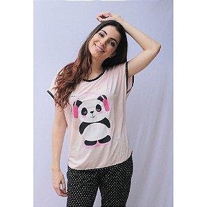Pijama Blusa Calça Pescador Adulto Feminino Curto Estampa Panda Cor Salmão