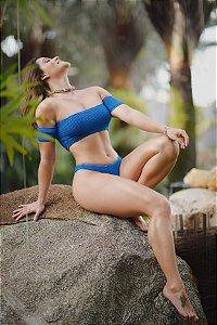 Cropped manguinha calcinha dupla inteira firenzi azul bic