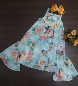 VESTIDO INFANTIL ESTAMPA TROPICAL