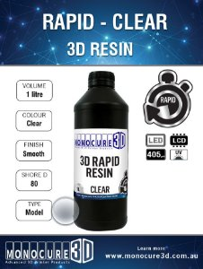 Monocure DLP - STANDART Clear - 500Ml - Resina para impressora 3D