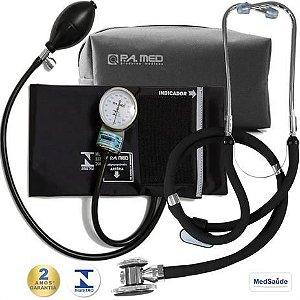 KIT Aparelho de pressão Esfigmomanômetro + Estetoscópio - P.A.MED