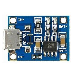Módulo Carregador De Bateria De Litio Tp4056  Micro Usb 1a