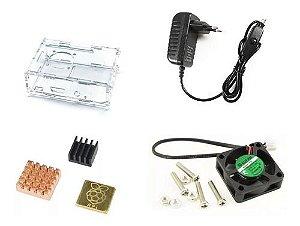 Case Raspberry Pi 3 Cor Trans + Cooler + Fonte B + Dissip