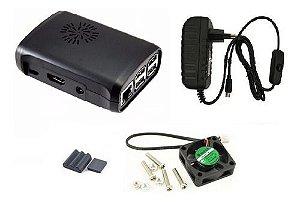 Case Raspberry Pi 3 Cor Preta + Cooler + Fonte C/ Botão, Dis