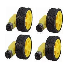 4 Unidades Kit Roda C/ Pneu + Motor Dc 3 A 6v C/ Redução