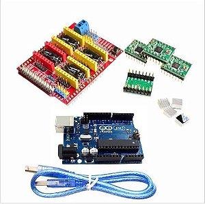 Kit Shield Cnc V3 + Placa Uno Chip + 4 Drivers A4988 Arduino