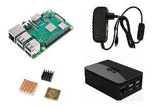 Raspberry Pi 3 B+ Plus C/ Fonte B, Case Premium Preta, Diss