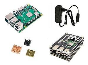 Raspberry Pi 3 B+ Plus C/ Fonte B, Case 9 Camadas, Cooler, D