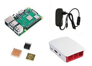 Raspberry Pi 3 B+ Plus C/ Fonte B, Case Oficial Branca, Diss