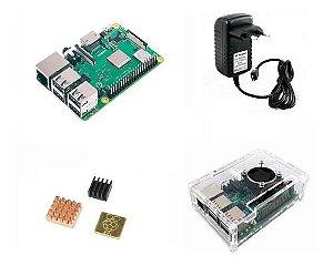 Raspberry Pi 3 B+ Plus C/ Fonte, Cooler, Case Transp, Dissip