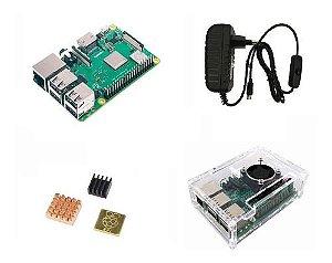 Raspberry Pi 3 B+ Plus C/ Fonte B, Cooler, Case Transp, Diss