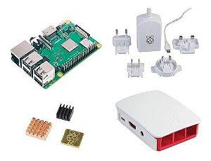 Raspberry Pi 3 B+ Plus C/ Fonte E Case Oficial Branca, Dissi