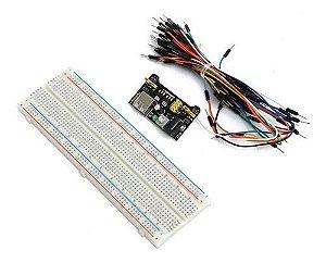 Kit Protoboard C/ Módulo De Alimentação E Jumper Arduino