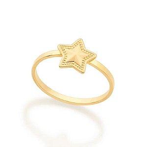 Anel infantil estrela folheado a ouro 0800