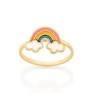 Anel arco-íris folheado a ouro com aplicação de resina 1014