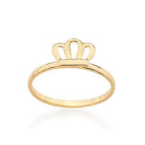 Anel infantil skinny ring folheado a ouro com coroa 1200