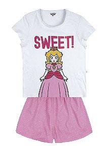 Pijama Curto Adulto Feminino Nintendo