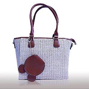 Bolsa feminina de luxo revestida em palha sintética