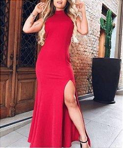 Vestido longo de fenda