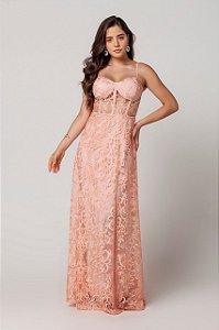 Vestido de festa com busto corset