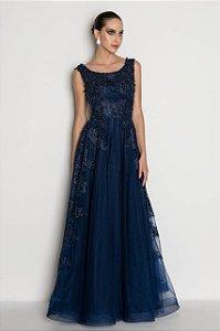 Vestido de festa bordado estilo princesa