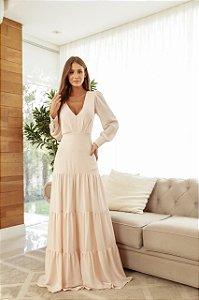 Vestido de festa em camadas manga longa