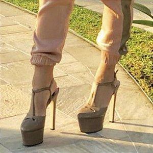 Sandália Plataforma Alta Meia Pata Nude