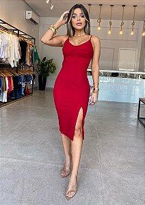 Vestido Midi Modelador Decotado Vermelho