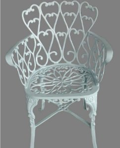 Poltrona em alumínio fundido cor branco