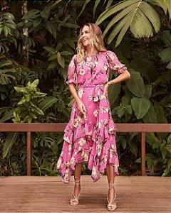 Vestido Midi Chiffon Floral Rosa Esmeral