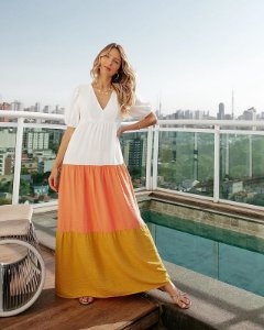 Vestido Longo Color Block Oxo Paxo