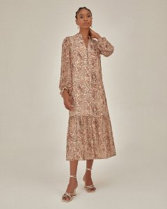 Vestido Midi Crepe Paisley Esmeral