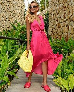 Vestido Cetim Midi Pink Blessed