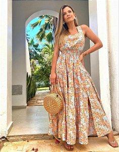 Vestido Estampado Floral Longo com Elastex