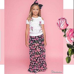 Conjunto Saia Longa Flores e Blusa bordada perolas e Strass Pituchinhus REF 18584