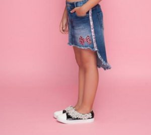 Conjunto blusa ursas e saia jeans Pituchinhus REF. 18557