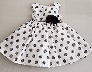 Vestido Branco com Bolinhas pretas e cinto strass com Flor ref. 31260