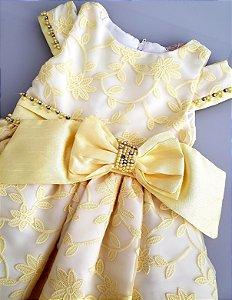 Vestido amarelo em renda com strass e pérola Petit Cherie ref. 31294