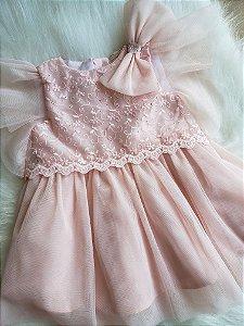 Vestido Rosa com tule antialergico e cristais Petit Cherie Ref. 31054