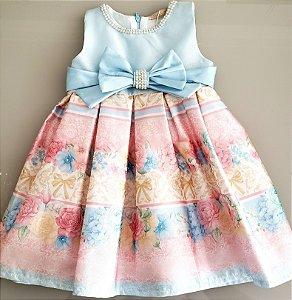 Vestido estampado com pérolas e strass azul e rosa Petit Cherie Ref. 30.11.31054