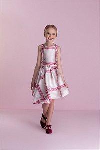 Vestido Rosa estampado com cinto Petit Cherie Ref.31338