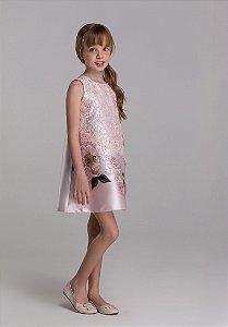 Vestido Trapézio Rosa com renda e cristais Petit Cherie Ref. 31408