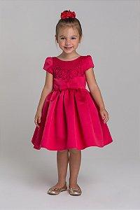 Vestido acetinado com bordado em cristais e cinto frontal vermelho Petit Cherie Ref: 31290